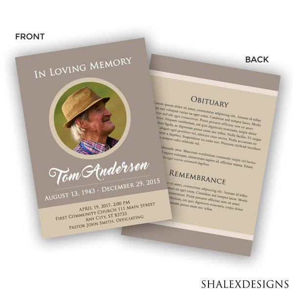 Funeral Program Template  Memorial Program Template  Photoshop Psd