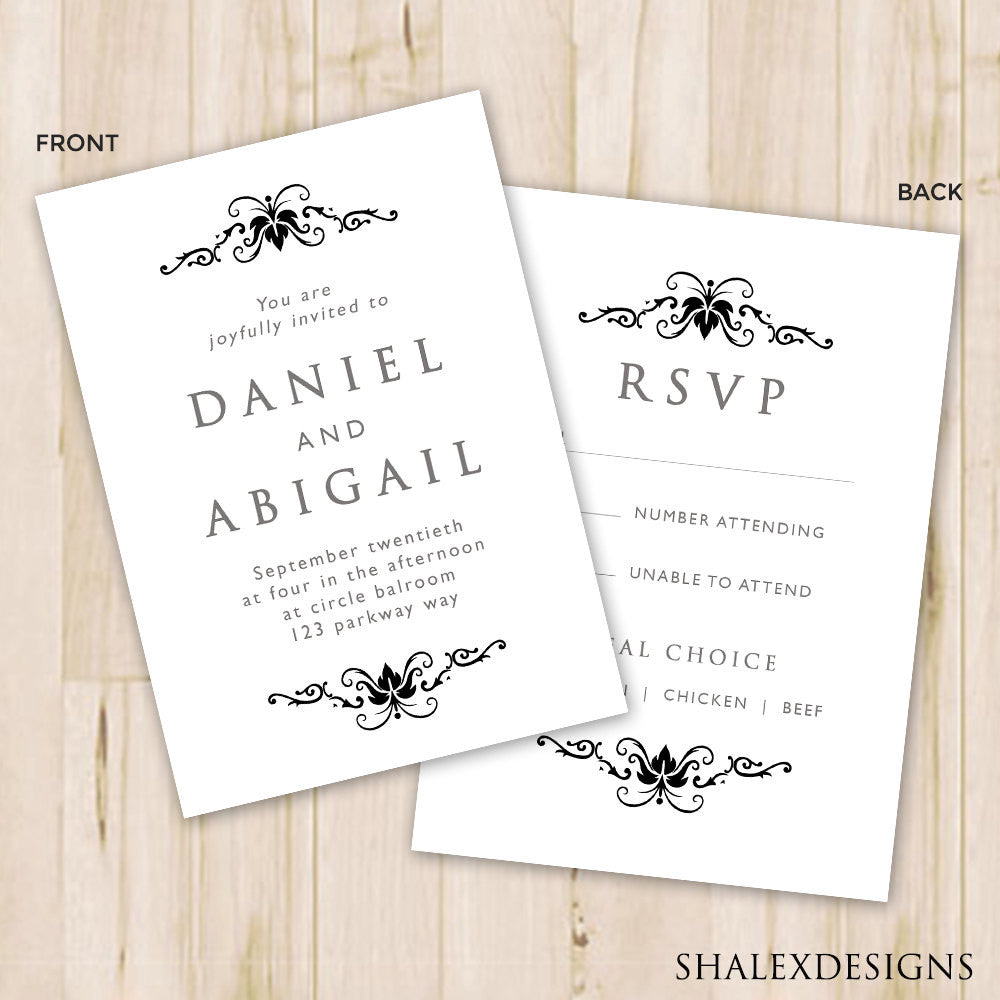 Black & White Wedding Invitation Template - Photoshop PSD *INSTANT ...