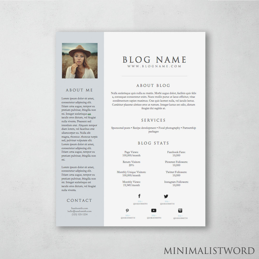 1 page blog media kit template microsoft word doc instant