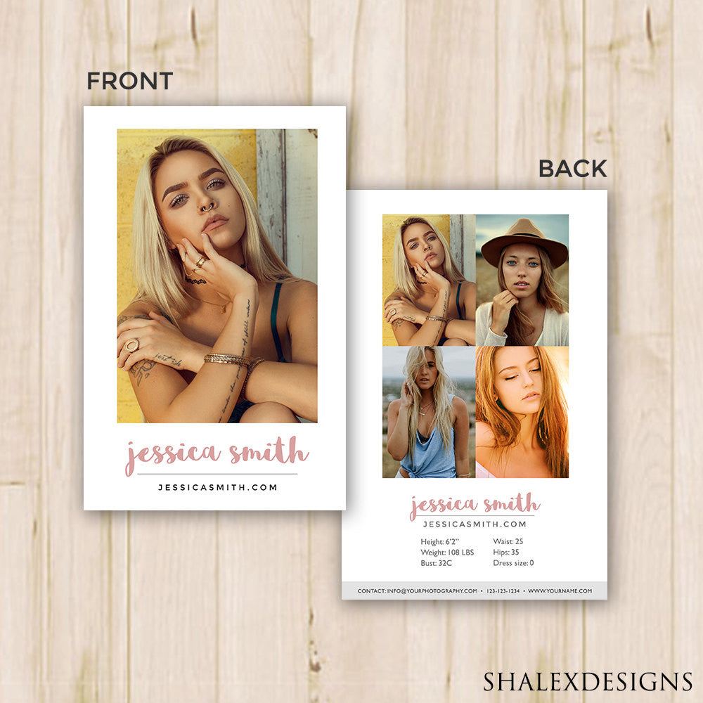 Modeling Comp Card Template Photoshop PSD INSTANT DOWNLOAD - Model comp card template