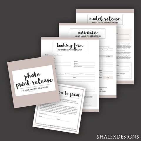 Photography forms sxstudio photography business forms bundle model release print release booking invoice templates fbccfo