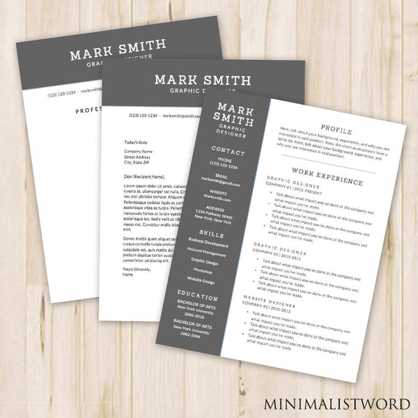 3 Pack Resume Cover Letter References Template Word