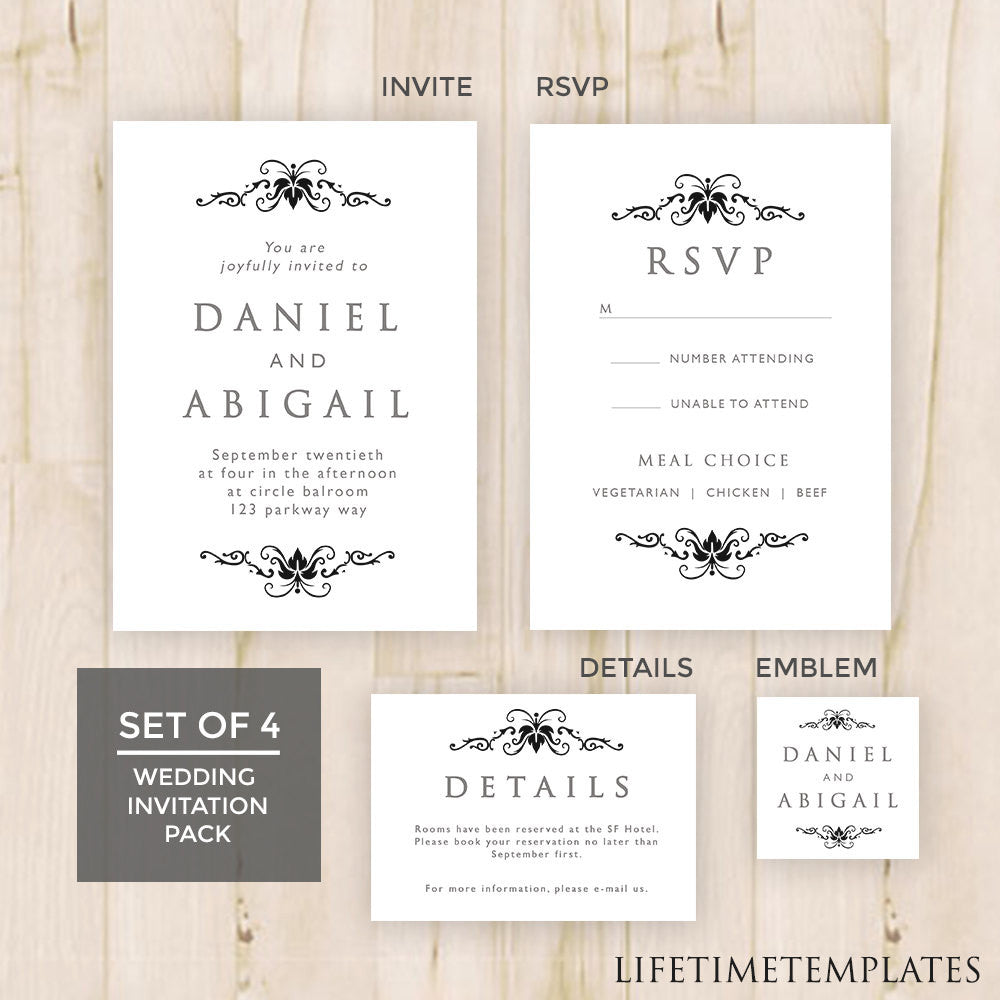 Set of 4 - Black & White Wedding Invitation Template Pack - Wedding ...