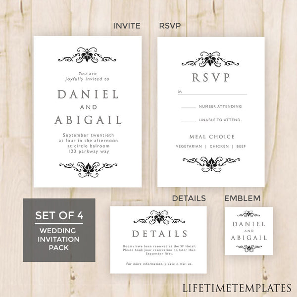 set of 4 black white wedding invitation template pack wedding invite emblem