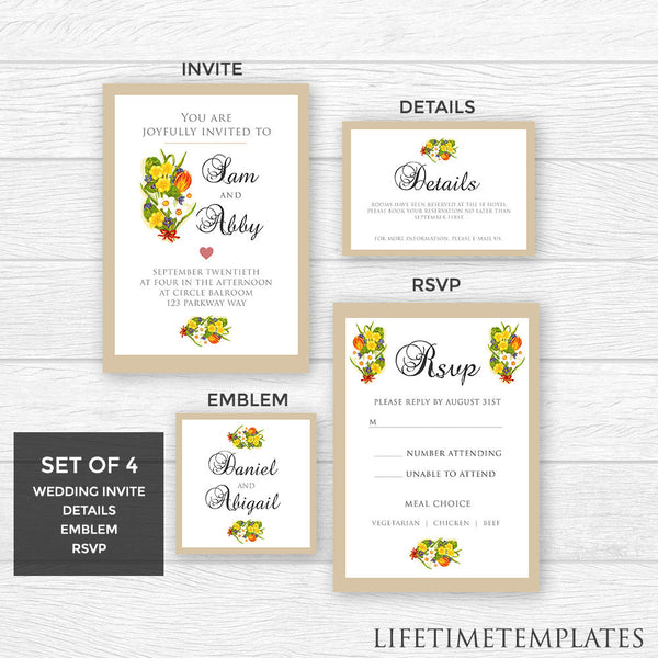 wedding invitation template pack 4 pack flower wedding invite emblem rsvp - Wedding Invitation Details Card