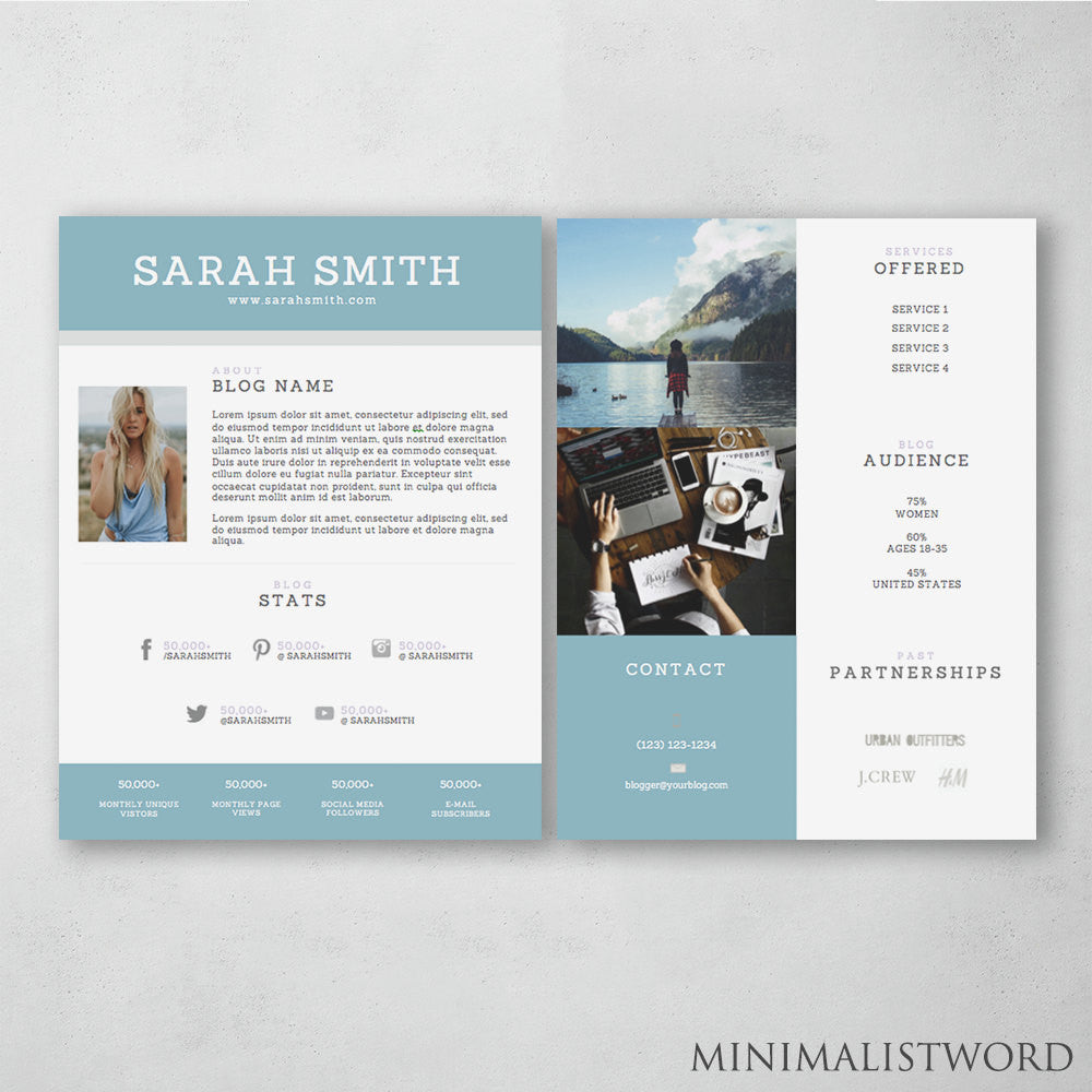 2-Page Media Kit Template with Blue Banner - Electronic Press Kit ...