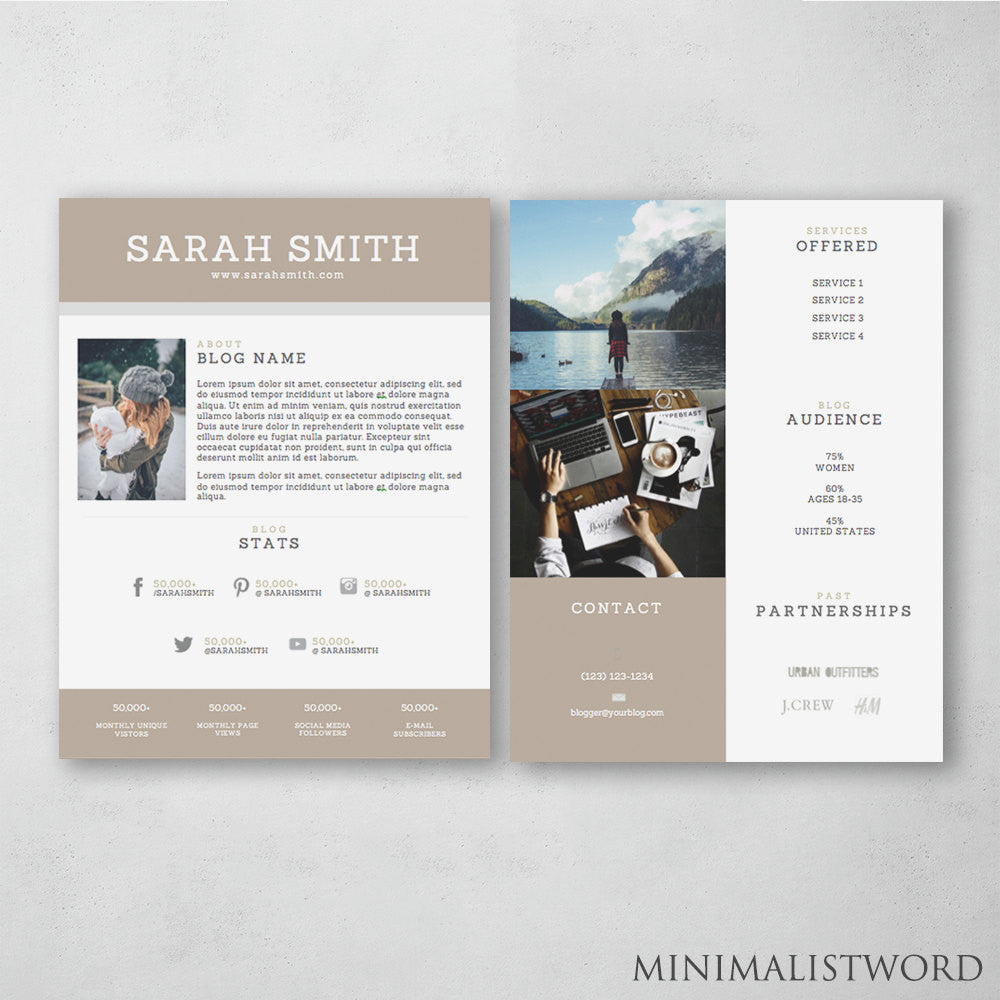 2 Page Media Kit Template Brown Electronic Press Kit Template Ms