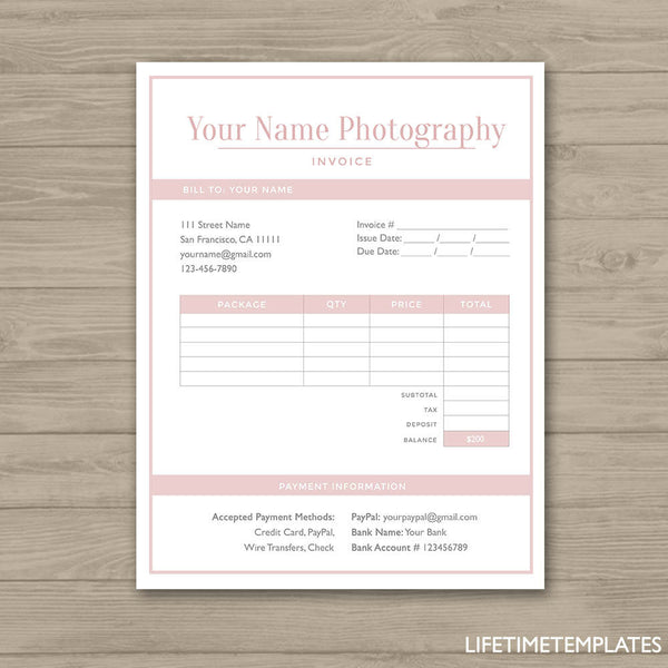 Photographer Invoice Form Photoshop Template For Photographers