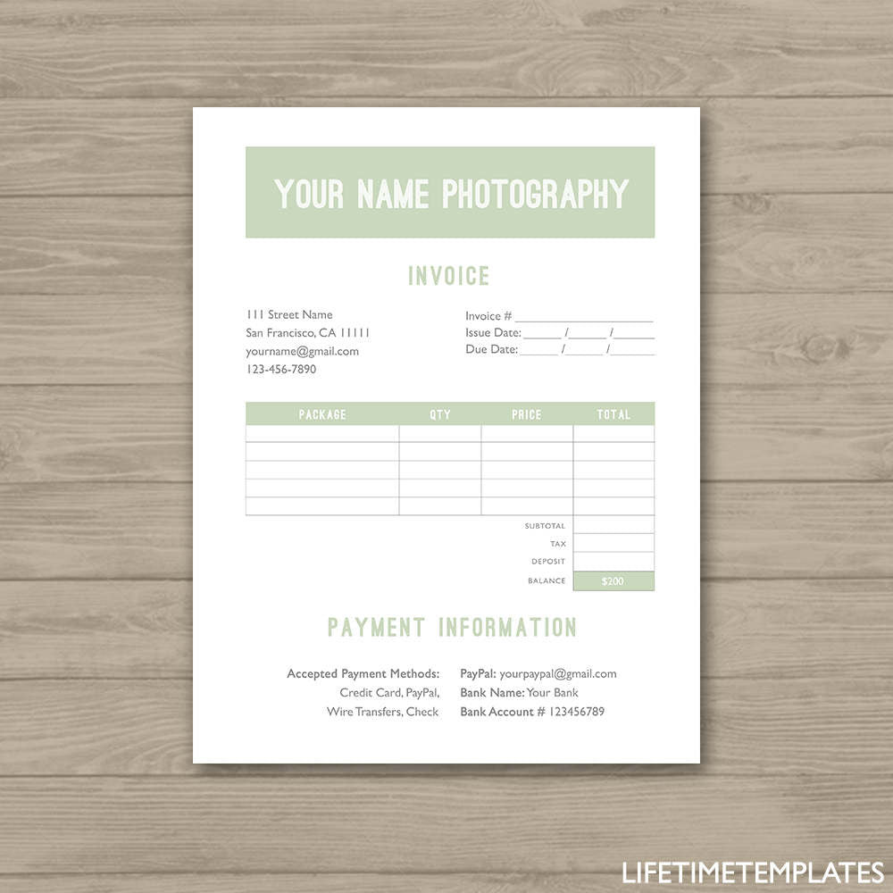 Photographer Invoice Form Green Photoshop Template For