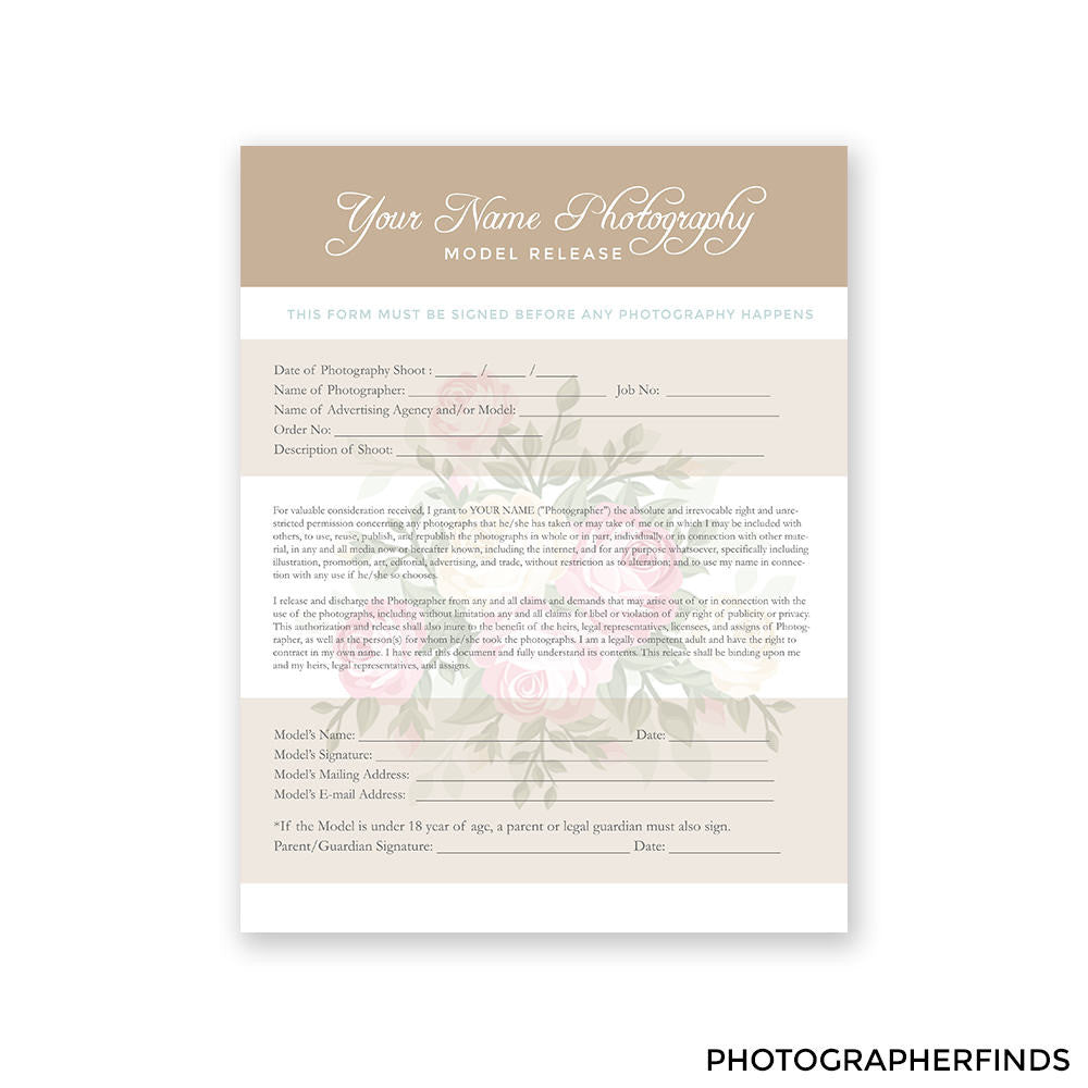 Elegant Photography Forms Templates Set Of 4 Model Release