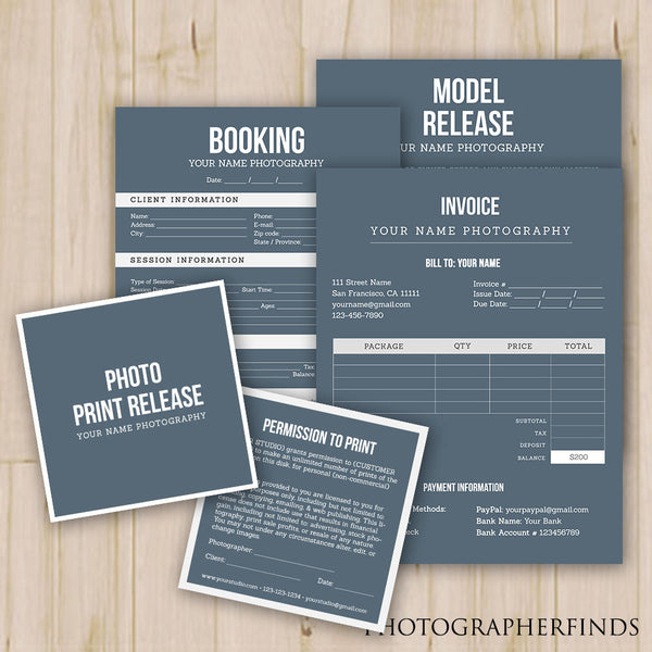 photographer forms templates set of 4 model release print