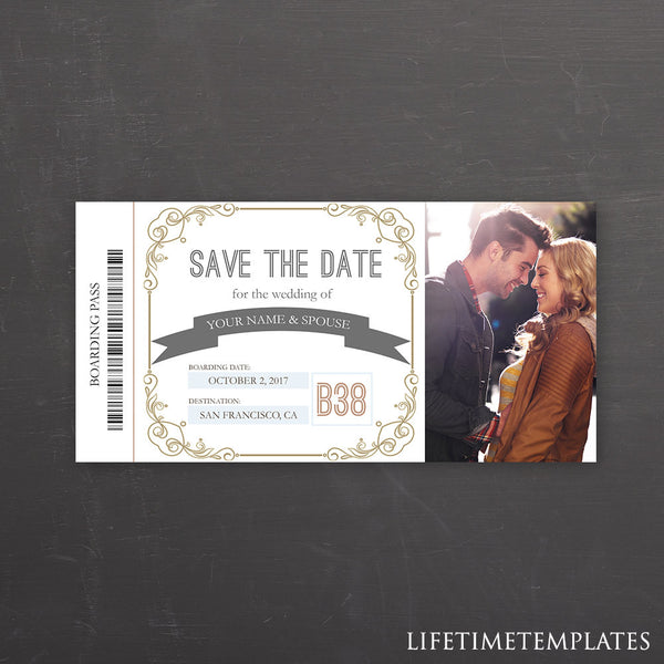 save the date boarding pass ticket template wedding announcement