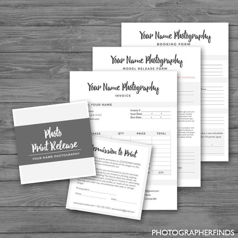 Elegant photography forms templates set of 4 model release photography forms minimal templates set of 4 model release print release wajeb Gallery
