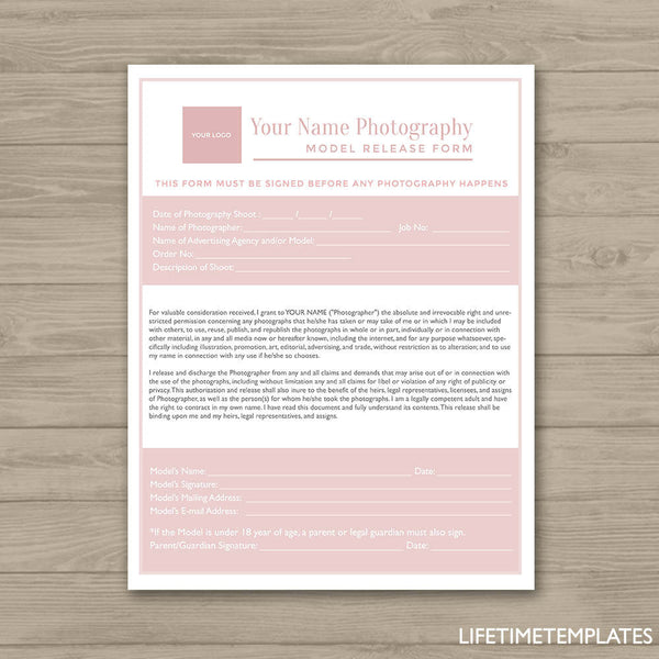 Photographer Model Release Form - Photoshop Template for ...