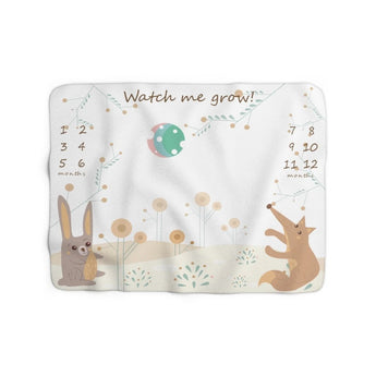 Milestone Blanket - Woodland Hare and Fox – Watch Me Grow – Sherpa Fleece