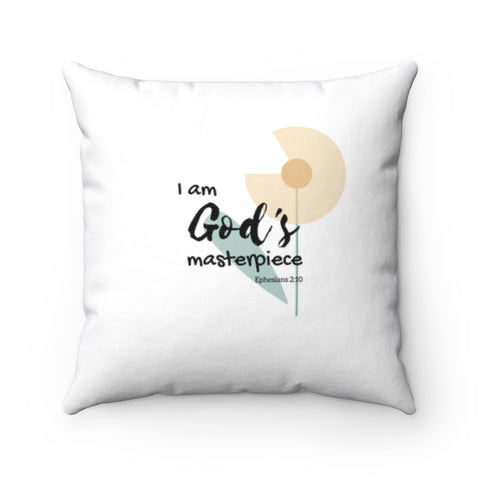 "Inspirational Christian Throw Pillow – God's Masterpiece/Child of God, Flower – Spun Polyester, 14""x14"""