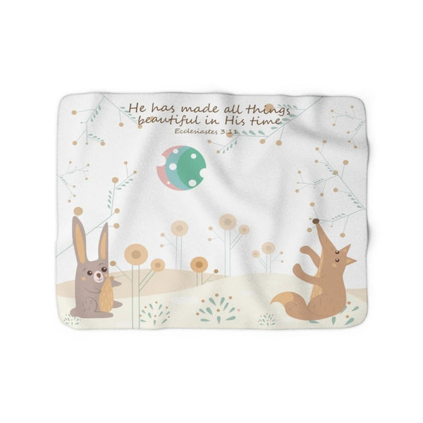 Inspirational Christian Family Blanket – Woodland Animals - Ecclesiastes 3:11, In His Time - Sherpa Fleece