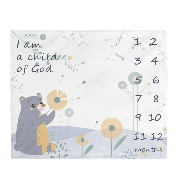 "Christian Milestone Blanket - Woodland Bear, Blue - John 1:12, I Am a Child of God – Plush Velveteen, 50""x60"""