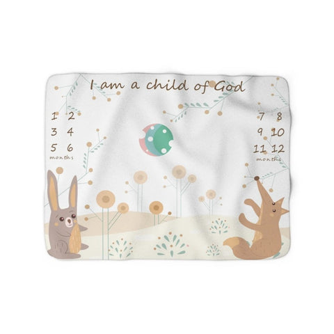 Christian Milestone Blanket - Woodland Hare and Fox - John 1:12, I Am a Child of God – Sherpa Fleece