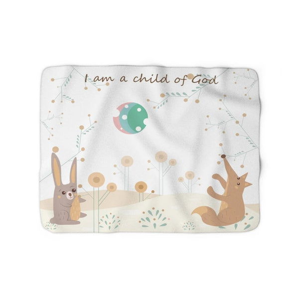 Inspirational Christian Family Blanket – Woodland Animals – John 1:12, Child of God - Sherpa Fleece