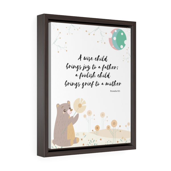 "Inspirational Bible Verse Wall Art for Baby's Nursery – Framed, 11"" x 14"" - A Wise Child"