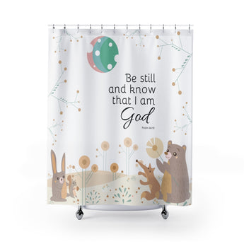 Inspirational Christian Shower Curtain - Beautiful Woodland Scene - Psalm 46:10, Be Still and Know That I am God