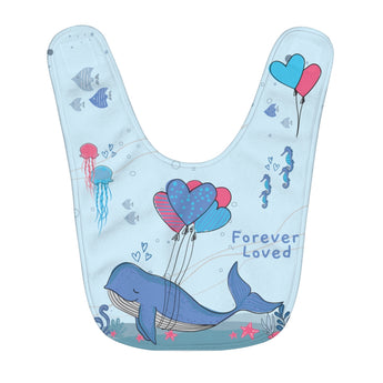 Forever Loved – Under-The-Sea, Blue - Infant & Toddler Fleece Baby Bib