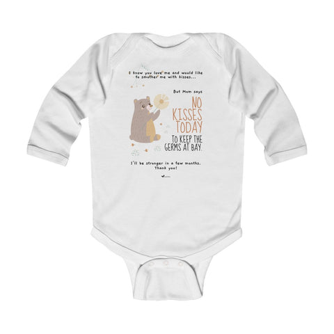 No Kisses Today to Keep the Germs at Bay – Adorable Bear - Infant & Toddler Long-Sleeve Bodysuit - Unisex