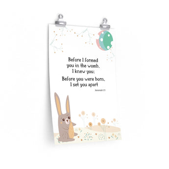 "Before I Formed You – Woodland Hare – Inspirational Christian Art Poster – Premium Matte, 12"" x 18"""