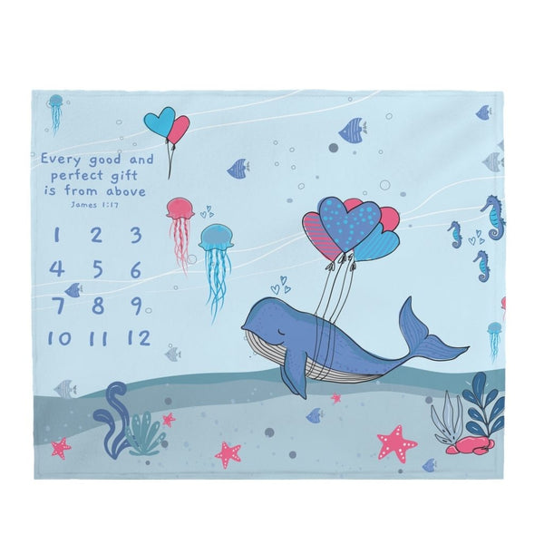 "Christian Milestone Blanket - Under-The-Sea - James 1:17, Every Good and Perfect Gift is from Above – Plush Velveteen, 50""x60"""