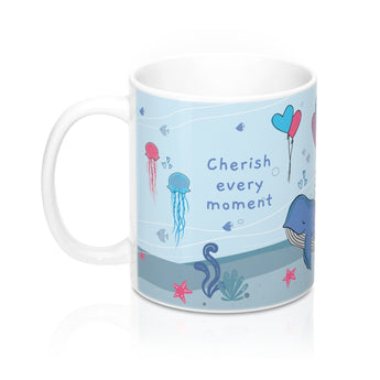 Cherish Every Moment – Unwind with our Lovely Designer Under-The-Sea Ceramic Mug – 11oz
