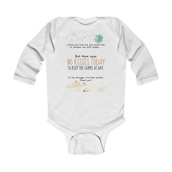 No Kisses Today to Keep the Germs at Bay – Woodland - Infant & Toddler Long-Sleeve Bodysuit - Unisex