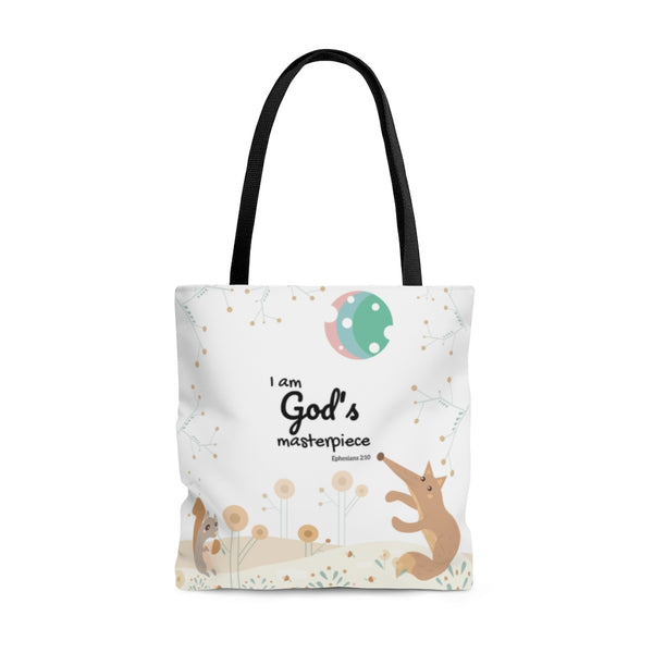 "God's Masterpiece/Child of God – Inspirational Christian-Themed Tote Bag – Woodland Animals – 100% Polyester, 18""x18"""