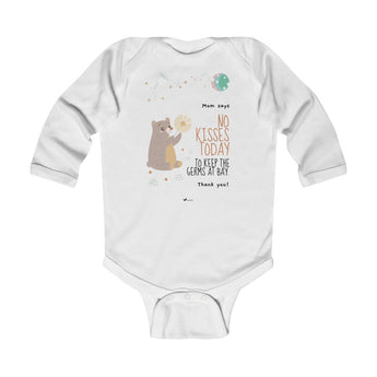 No Kisses Today to Keep the Germs at Bay – Woodland Bear - Infant & Toddler Long-Sleeve Bodysuit - Unisex