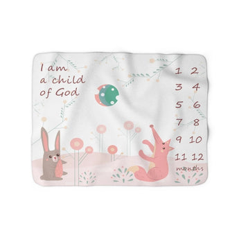 Christian Milestone Blanket - Woodland Hare and Fox, Pink - John 1:12, I Am a Child of God – Sherpa Fleece