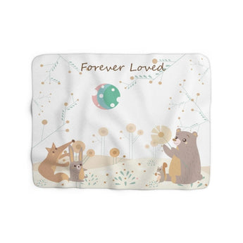 Inspirational Family Blanket – Woodland Animals – Forever Loved - Sherpa Fleece