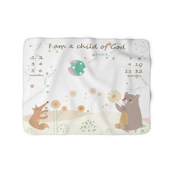 Christian Milestone Blanket - Woodland Fox and Bear - John 1:12, I Am a Child of God – Sherpa Fleece