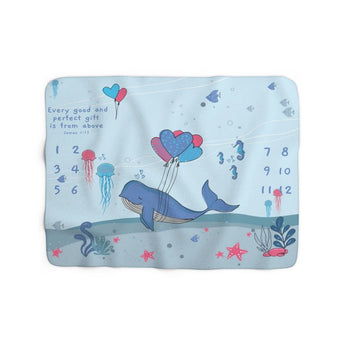Christian Milestone Blanket - Under-The-Sea Adorable Whale - James 1:17, Every Good and Perfect Gift is from Above – Sherpa Fleece