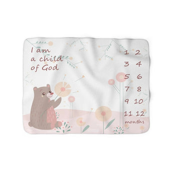 Christian Milestone Blanket - Woodland Bear, Pink - John 1:12, I Am a Child of God – Sherpa Fleece