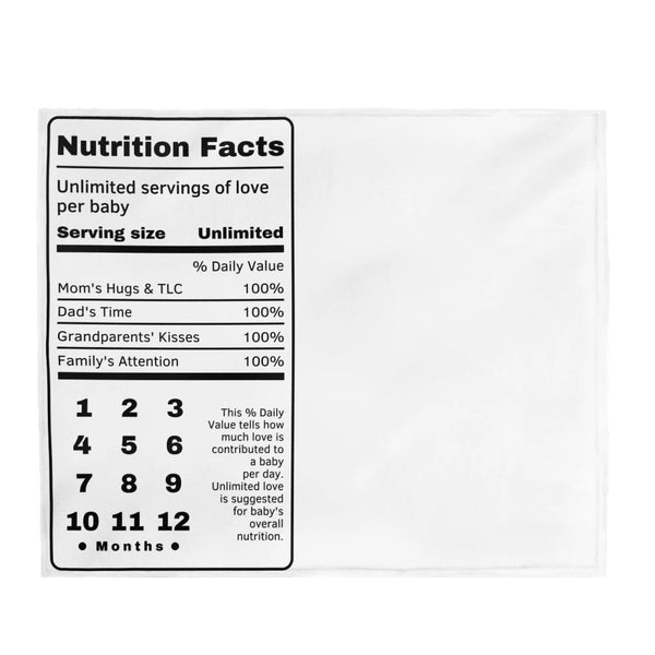 "Baby Milestone Blanket - Nutrition Facts - Perfect for Recording Baby's Precious Moments - Plush Velveteen - 50"" x 60"""