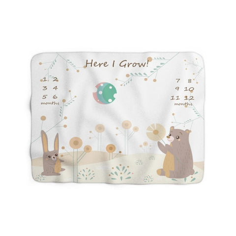 Milestone Blanket - Woodland Hare and Bear – Here I Grow – Sherpa Fleece