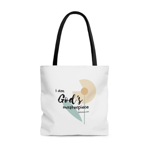 "God's Masterpiece/Child of God – Inspirational Christian-Themed Tote Bag – Flower – 100% Polyester, 18""x18"""