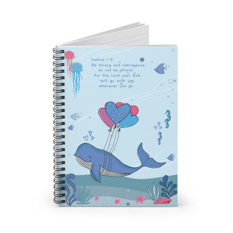 Inspirational Christian-Themed Spiral Notebook – Blue; Lined – For Your Baby's Precious Moments - Be Strong and Courageous