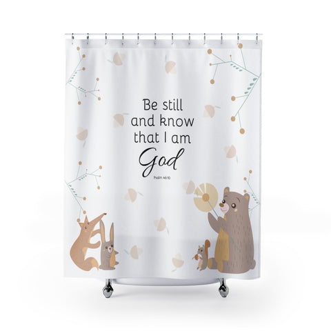 Inspirational Christian Shower Curtain - Woodland Animals - Psalm 46:10, Be Still and Know That I am God