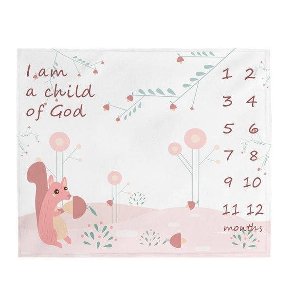 "Christian Milestone Blanket - Woodland Squirrel, Pink - John 1:12, I Am a Child of God – Plush Velveteen, 50""x60"""