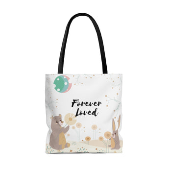 "Forever Loved/A Family's Love is Forever - Inspirational Tote Bag – Woodland Animals – 100% Polyester, 18""x18"""