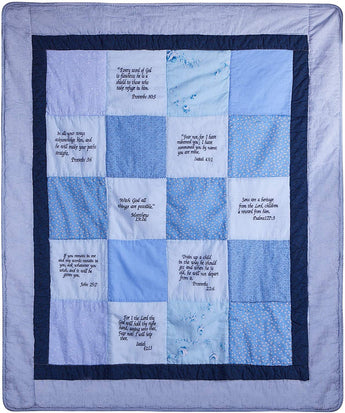 Stuff4Tots Bible Verse Baby Blanket. Embroidered Scriptures Baby Quilt