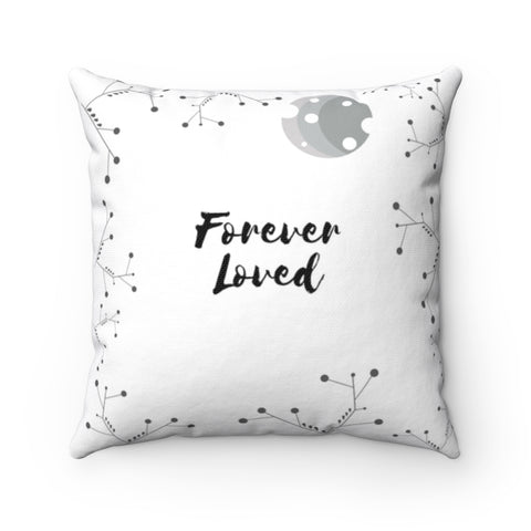"Inspirational Throw Pillow – Forever Loved/A Family's Love is Forever - Minimalist – Spun Polyester, 14""x14"""