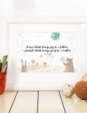 "A Wise Child Brings Joy – Inspirational Christian Art Gallery Wrap for Baby's Nursery – Premium Matte Cotton, 10"" x 8"""