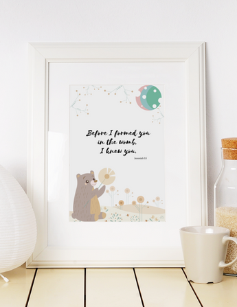 "Before I Formed You - Inspirational Bible Verse Poster for Baby's Nursery – Premium Matte, 12"" x 18"""